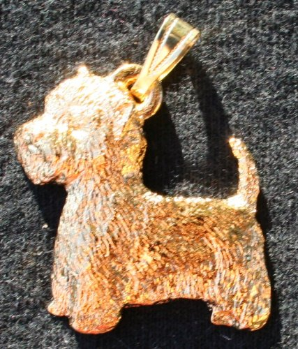 (West Highland White Terrier Westie Dog 24k Gold Plated Pewter Pendant USA Made)