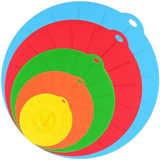 Microondas cubiertas, silicona alimentos Tapas Sets, 5 colores ...