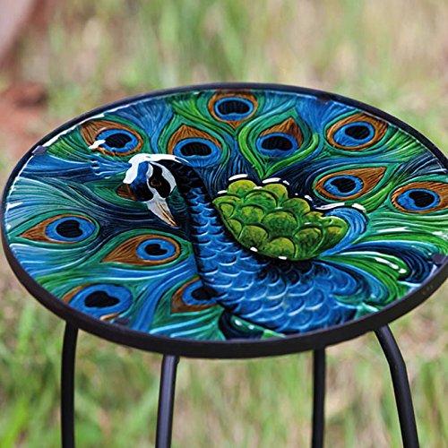 Evergreen Garden Outdoor Safe Round Peacock Glass And