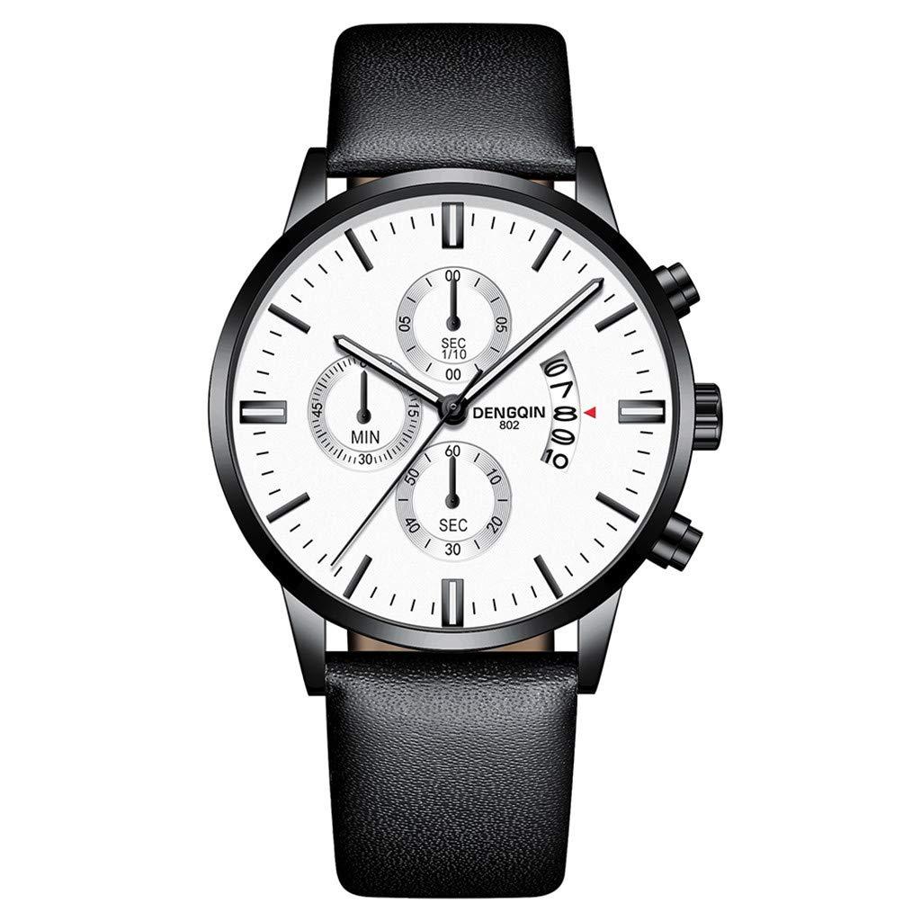 Staron  Luxury Men's Quartz Sport Military Stainless Steel Dial Wrist Watch - Top Leather Watch Band - 43mm Chronograph Date Watch - Battery Quartz Movement (A)