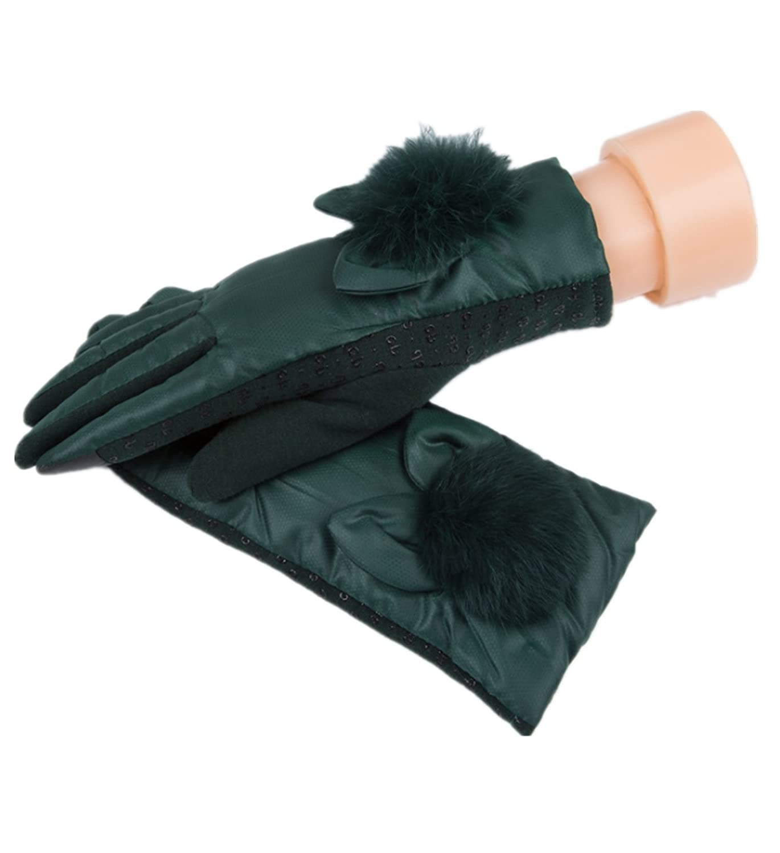 micrkrowen 防風タッチパッド入りベルベット冬用多目的手袋 (グリーン)   B0785PVM9D