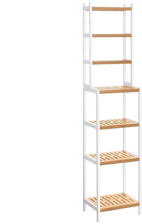 SONGMICS 7-Tier Bamboo Bathroom Shelf, Adjustable Storage Rack, Multifunctional Organiser, Shelving Unit for Washroom, Living Room, Kitchen, White and Natural BCR01WN
