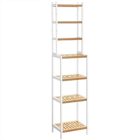 SONGMICS Badregal aus Bambus mit 7 Ebenen, Badezimmerregal, mit  verstellbaren Ablagen, multifunktionaler Organizer, Regalsystem für  Waschraum, ...