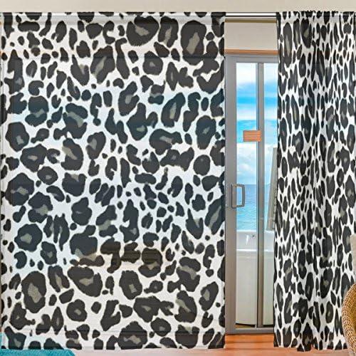 WOZO Leopard Print Window Sheer Curtain Panels 55″x 84″