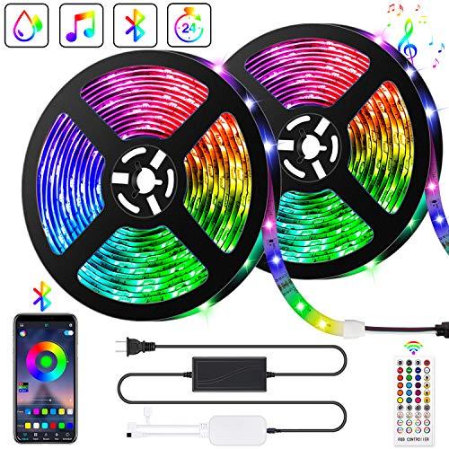 Bonve Pet Tiras LED 10M 5050 RGB, Tiras de Luces LED Iluminacion con 300 Leds 12V SMD, Impermeable IP65, Adaptador de Alimentacion 3A, Control Remoto de 24 Claves, Receptor