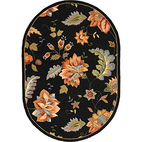 Safavieh Chelsea Collection HK306B Hand-Hooked Black Premium Wool Oval Area Rug (4'6