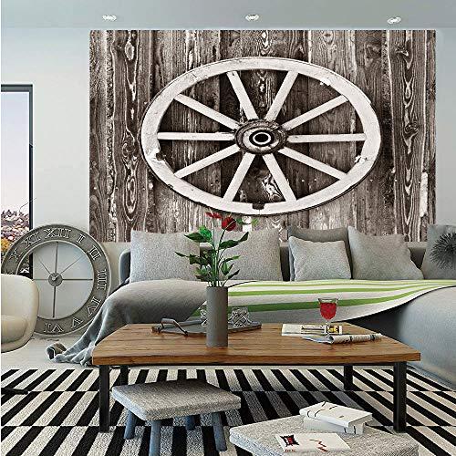 - Barn Wood Wagon Wheel Huge Photo Wall Mural,Retro Wheel on Timber Wall Barn House Village Cart Circle Decorative,Self-adhesive Large Wallpaper for Home Decor 100x144 inches,Dark Brown and White