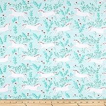 Michael Miller Magic Jersey Knit Unicorn Forest Aqua Fabric By The Yard