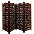 Homeroots Benjara Tup The Urban Port Bm34821 Hand Carved Sun And Moon Design Foldable 4 Panel Wooden Partition Screen Room Divider Brown