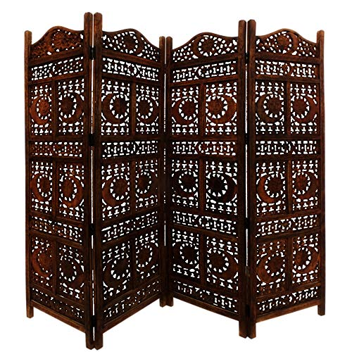 - Benzara BM34821 Hand Carved Sun and Moon Design Foldable 4-Panel Wooden Partition Screen/Room Divider, Brown