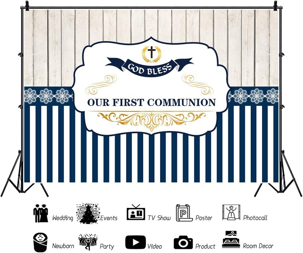 Yeele 10x8ft Elegant First Commun/íon Backdrop Holy Communion Blue Stripes Baptism Photography Background Baby Shower Birthday Party Cake Dessert Table Decor Decoation Banner Photo Booth Wallpaper