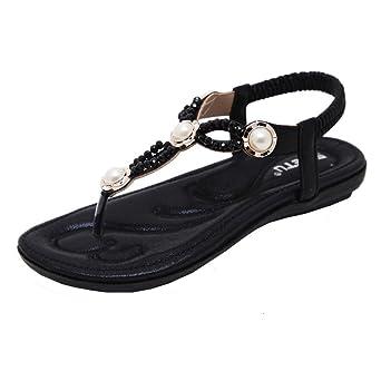 katliu Damen Sandalen Zehentrenner Sommer Strand Flach Böhmen Sandaletten Clip Toe Strass Perlen Schuhe, Blue 40