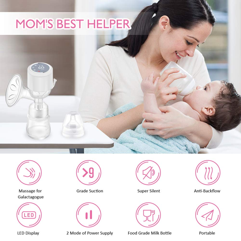 Electric Breast Pump Electric and Manual Breast Pump Portable Integrated 2 in 1 Breastfeeding Pump Adjustable Massage and Expression Modes Milk Extractor Kit for On-The-Go