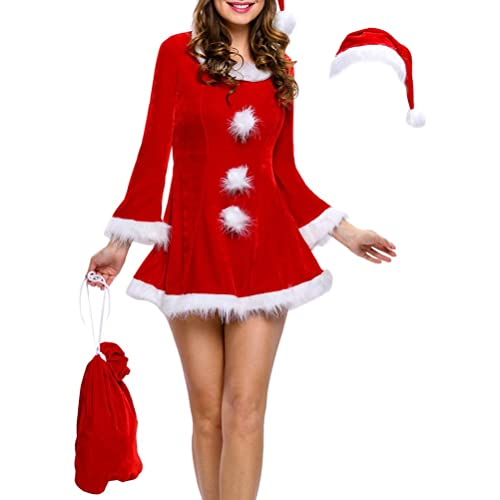 Zhhlaixing Moda per le donne Christmas Clothes Santa Claus Costumes Dance Stage Performances Cosplay Dress Set Gifts for Women