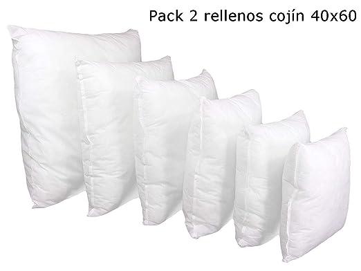 ForenTex Pack 2 Relleno 40x60 cm Fibra Mullido Antialérgico Cojines Sofá, Blanco
