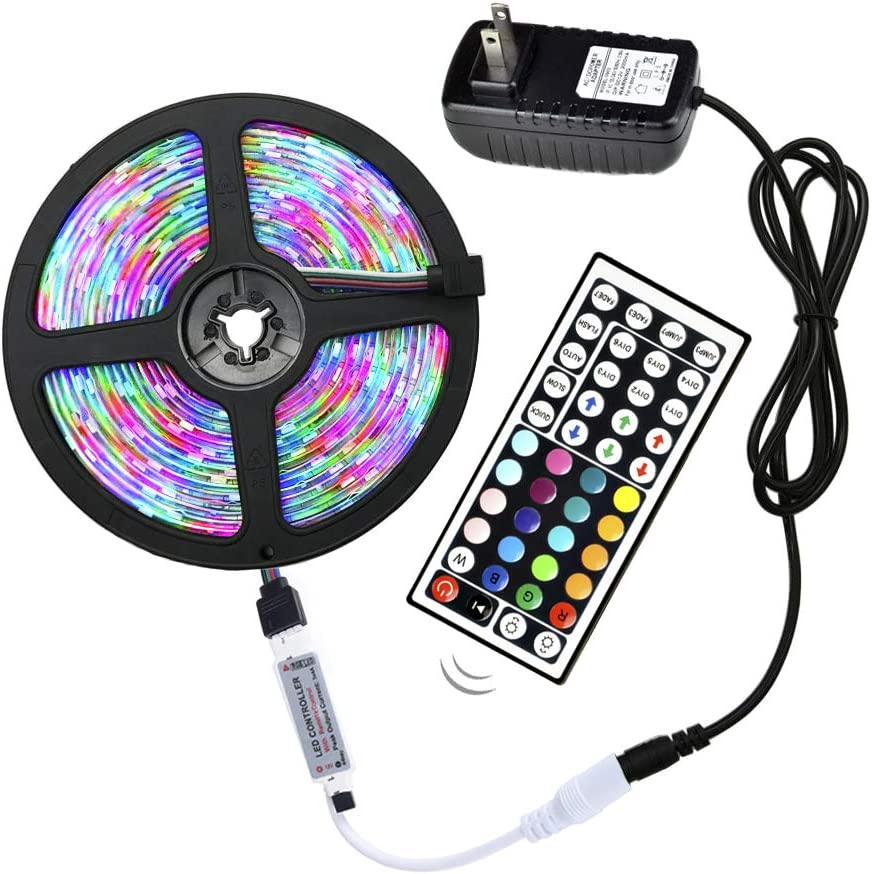ELENKER LED Strip Lights Kit, Waterproof 16.4ft 3528 LED Light Strips RGB 300 LEDs with Remote and 12V Adapter for Home Bedroom Kitchen Halloween Decorations Lighting