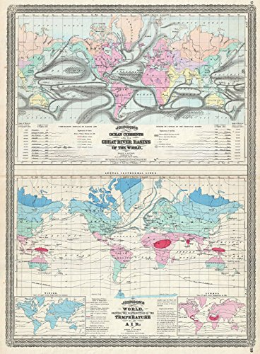 on Map of The World Showing Temperature and Ocean Currents -, 1870 | Historical Antique Vintage Decor Poster Wall Art | 24in x 32in ()