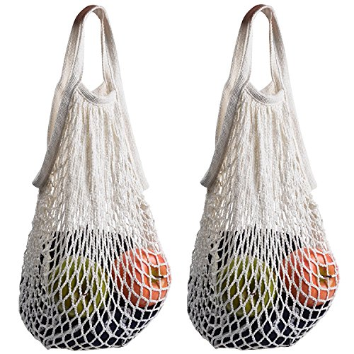 (CUGBO 2 PCS Net Shopping Tote Bag Reusable Cotton String Grocery Bag Mesh Produce Bag Fruit Vegetable Storage Bags(White x 2))