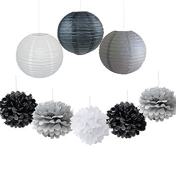 9 unidades de faroles decorativos de papel para fiestas, color negro, gris y blanco, para boda, ...