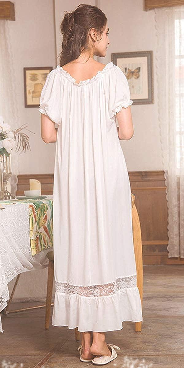 Nanxson 100/% Cotone Camicia da Notte da Donna Maniche Corte Vintage Victorian Camicie da Notte Pigiama SQW0010