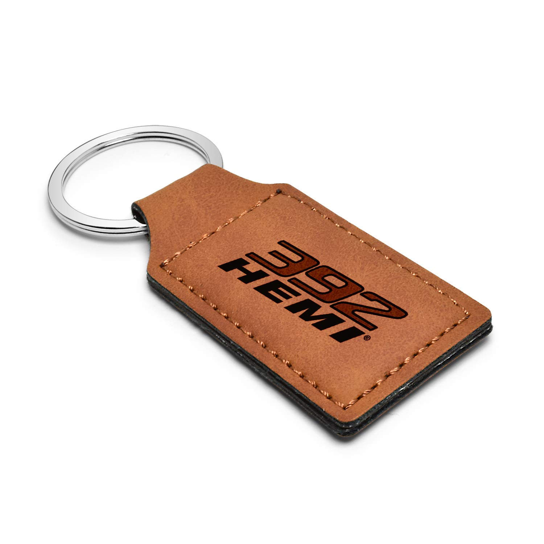 iPick Image HEMI 392 Rectangular Brown Leather Key Chain Key-Ring for Dodge Challenger Charger SRT Jeep RAM