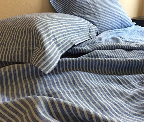 Blue Ticking Stripe Duvet Cover In Natural Linen, Ticking Stripe Bedding,  Custom Bedding,