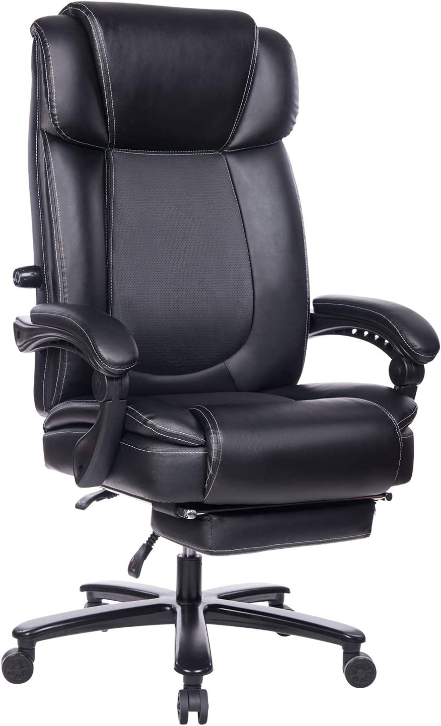 REFICCER Big and Tall Bonded Leather Office Chair - High Back Metal Base Executive Computer Desk Chair, Adjustable Built-in Lumbar Support with Footrest - Black