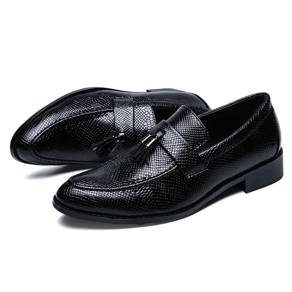 2018 Motif de Peau de Serpent pour Hommes avec Chaussures de Loisirs à Talons Plats et Talons Plats pour Homme Richelieus Homme (Color : Noir, Taille : 43 EU)