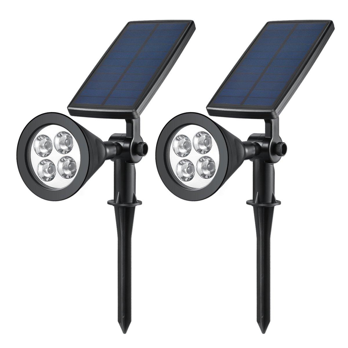 AMIR Solar Lights, 270° Adjustable Solar LED Outdoor Spotlight, Solar Garden Lights, Super Bright 200 Lumens Wall Lights, Outdoor Landscape Waterproof Security Night Lights (2 Pack White) UK-PL6_2PCS