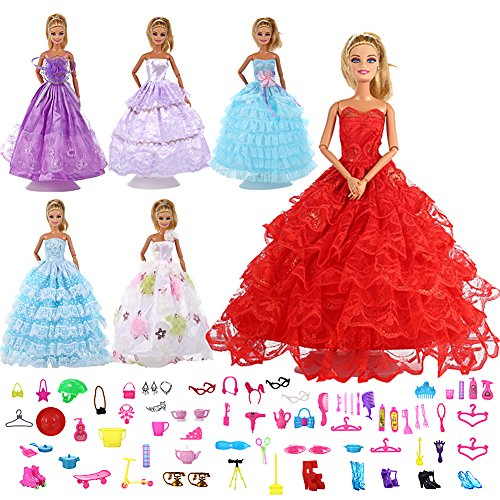 Qiyun 6Pcs Multi-Style Handmade Fashion Wedding Party Gowns Dresses Clothes with 80pcs Barbis Accessories for Barbie Dolls Girls Kids Gifts