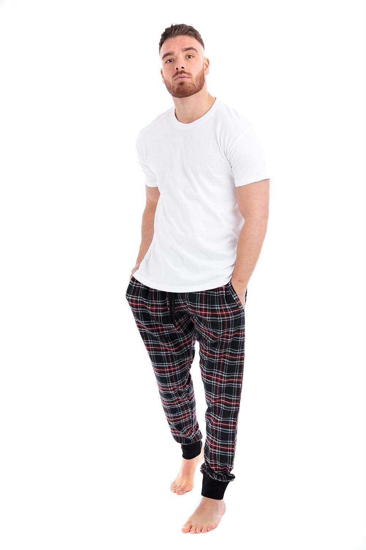 Mens Flannel Pyjamas Set Short Sleeve Lounge Top Pants PJ Pajamas Nightwear Gift