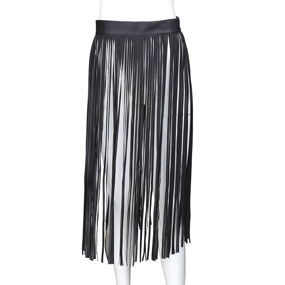 Ocamo - Falda con Flecos de Piel sintética para Mujer con cinturón Ajustable para Adulto, Negro, Large