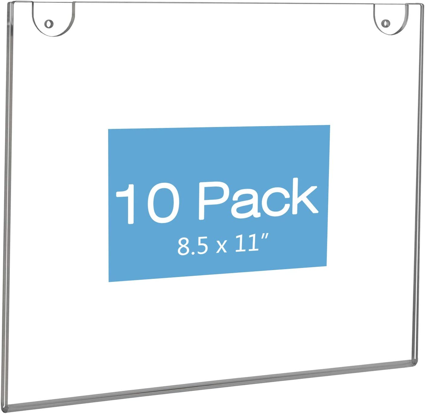 6 Pack Wall Mount Acrylic Sign Holder 8.5 x 11 Display Frame for Office Restaurant Paper Document Signs Menu Poster,8.5x11 Clear Acrylic Sign Holder Vertical AD Frame Adhesive Screws Included