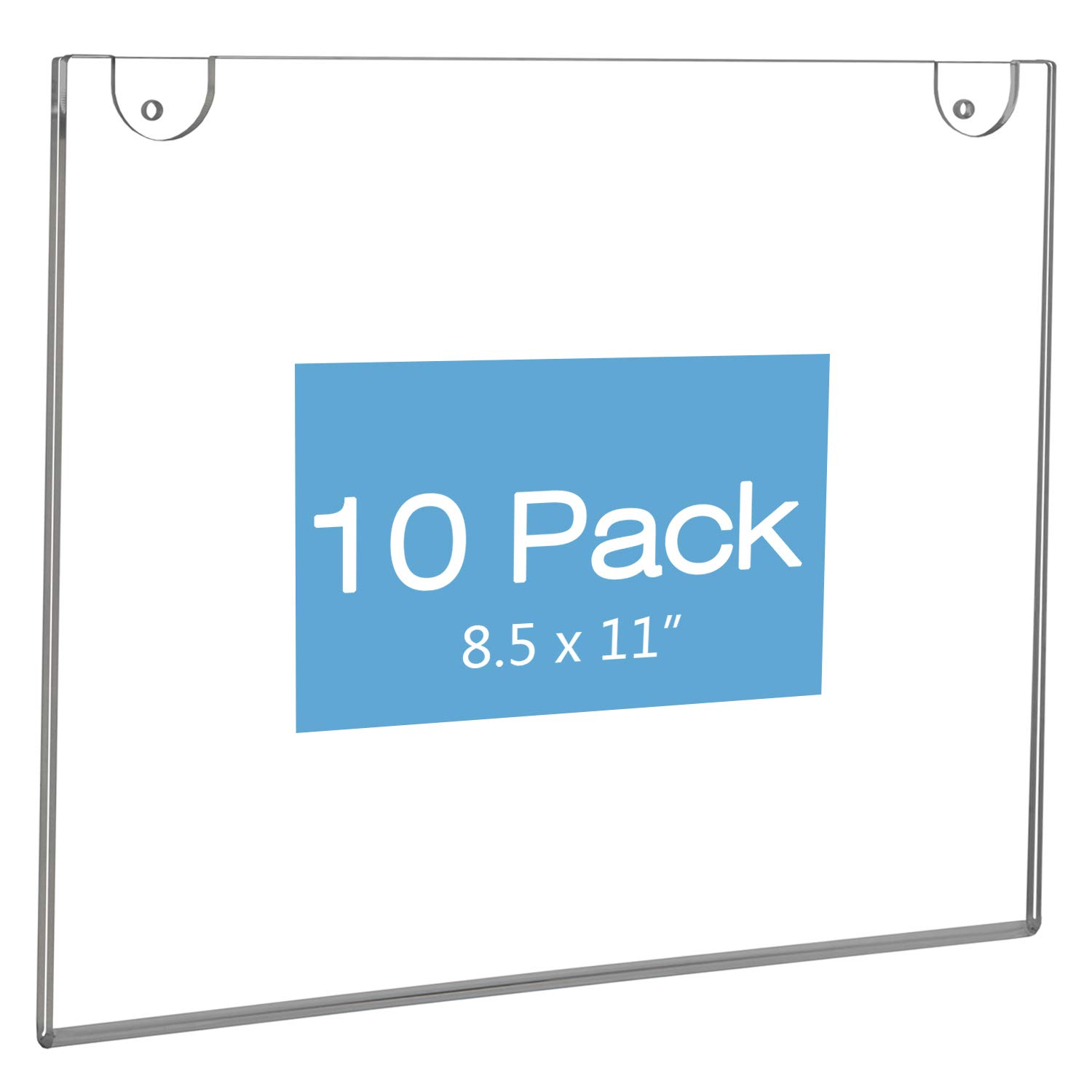 NIUBEE 10Pack 8.5x11 Sign Holder Horizontal for Wall Door, Clear Acrylic Picture Frame for Paper with Free 3M Tape and Mounting Screws by NIUBEE