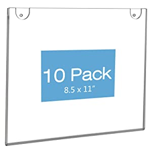 NIUBEE 10Pack 8.5x11 Sign Holder Horizontal for Wall Door, Clear Acrylic Picture Frame for Paper with Free 3M Tape and Mounting Screws