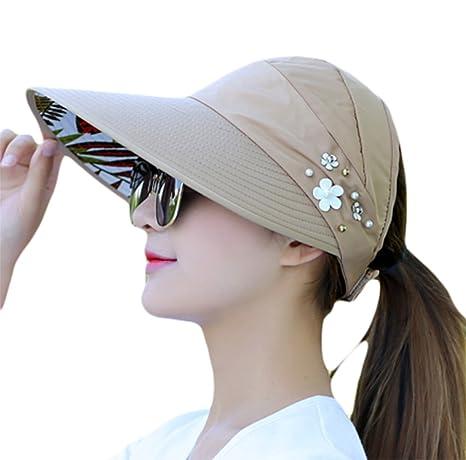 Toruiwa Sombrero del sol para mujer Sombrero de Visera para Mujer Sombrero  de Ala Ancha Sombrero 31d9e31635a