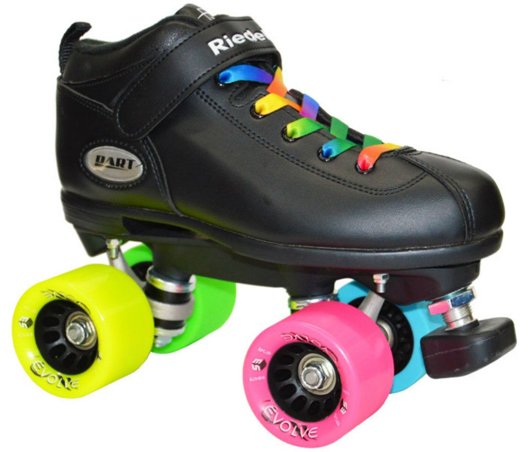 Riedell Dart Rainbow Evolve Quad Roller Derby Speed Skate w/ 2 Pair of Laces (Rainbow & Black) (Mens 8) by Riedell & Epic