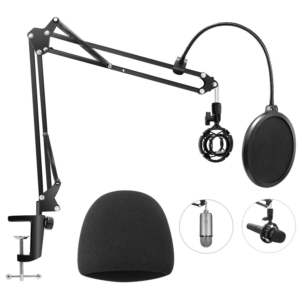 Heavy Duty Microphone Stand with Mic Windscreen and Dual Layered Mic Pop Filter, Geekroom Adjustable Microphone Suspension Boom Scissor with Shock Mount Mic Clip Holder 3/8'' to 5/8'' Screw Adapter