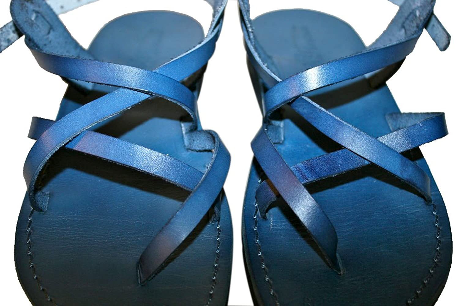 Blue Triple Unisex Leather Sandals / Genuine Handmade Leather Holy Land Biblical Jesus Sandals