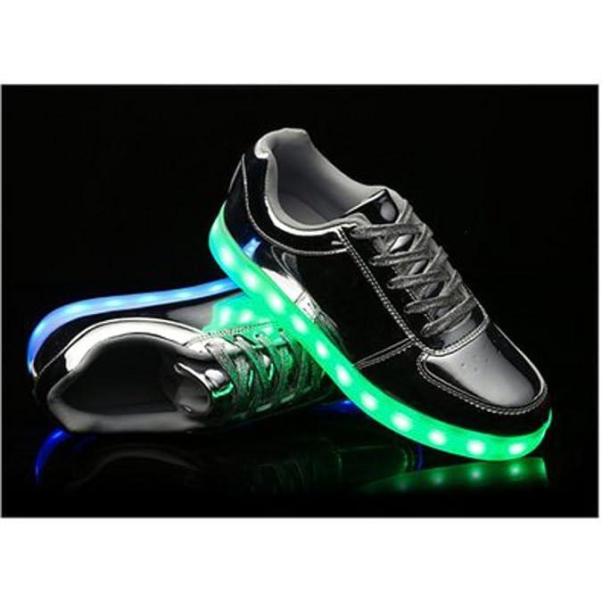 (Present:kleines Handtuch)Silber EU 43, Lovers Schuhe mode leuchten Flashing USB-Lade Turnschuhe Luminous Unisex LED Glow JUNGLEST® Herren Silber