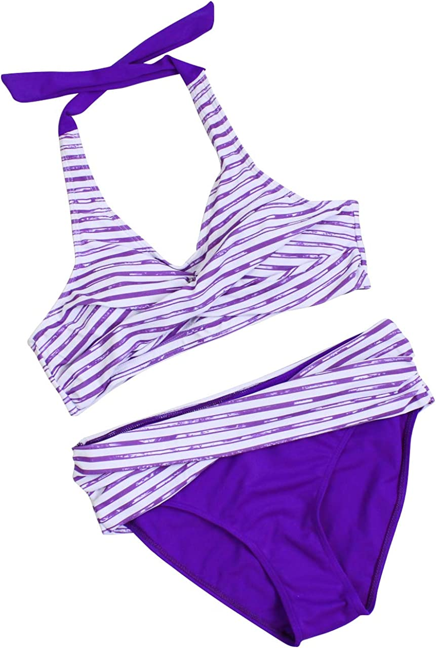 CPUTAN Floral Print Womens Tankini Swimwear Bandeau Padded Bikini Set Two Piece Swimsuits