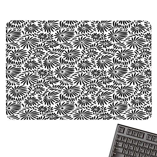 Black and WhiteE-Sports Gaming Mouse PadSimple Floral Motifs Tropical Island Vegetation in Monochrome Doodle StyleNonslip Rubber Base 15.7