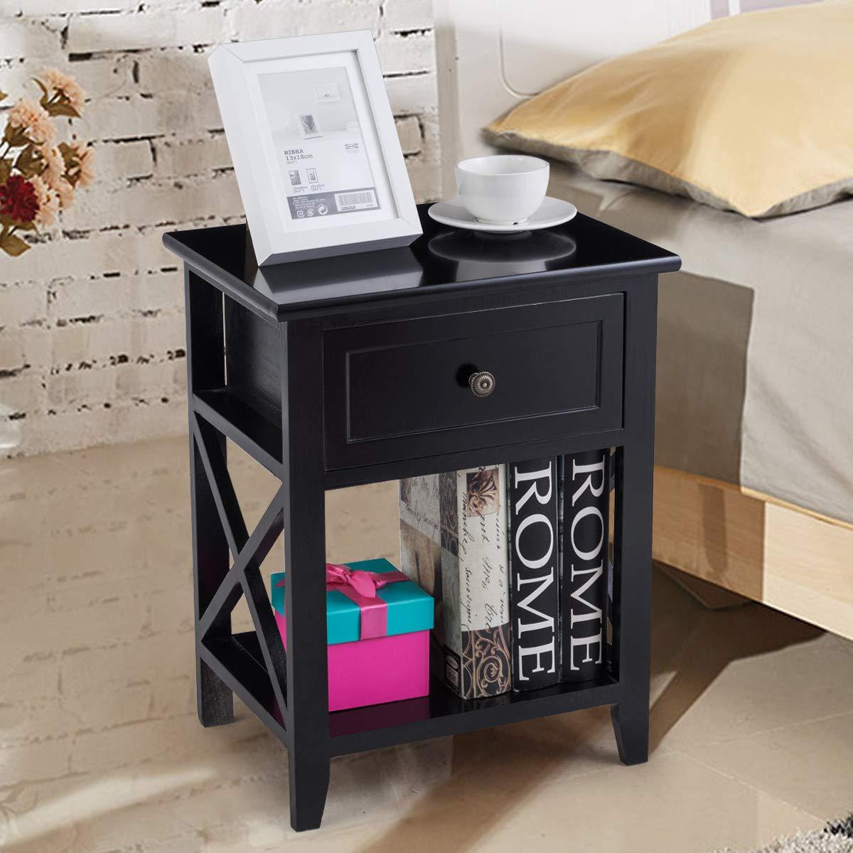 Giantex 2 Pcs Nightstand End Bedside Table Home Bedroom Furniture X-Shape W/Bottom Open Shelf Drawer, Black by Giantex (Image #3)