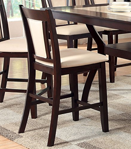 Furniture of America Dalcroze Modern Pub Dining Chair, Ivory Fabric, Set of 2