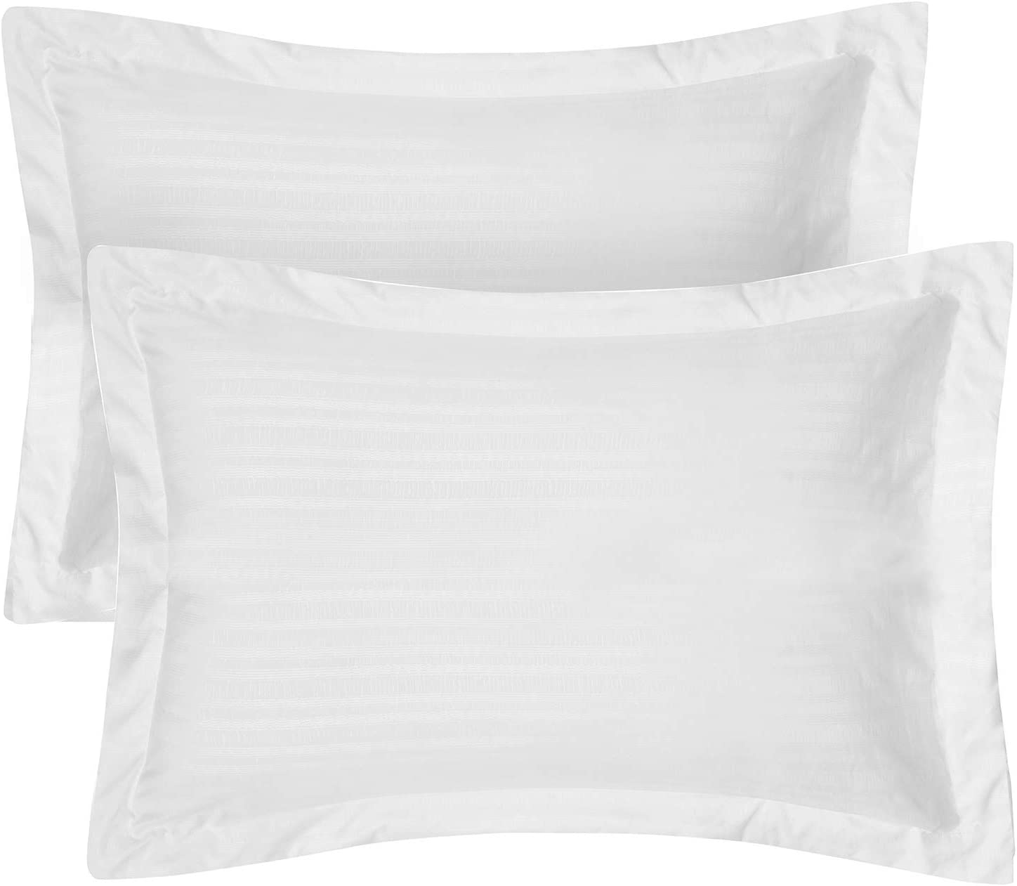"Hansleep Pillow Shams Set of 2 Standard Size, Bedding Embossed Ultra Soft Brushed Pillow Sham, Machine Washable (White, Queen 20x30"")"