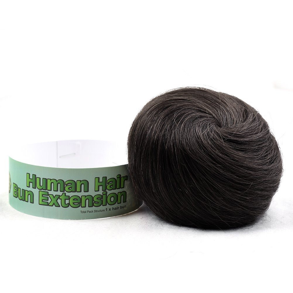 Bella Hair 100% Human Hair Bun Extension Donut Chignon Hairpieces for Both Women and Men Instant Up Do Style Bun Wig (#1B Natural Black) by Bella Hair