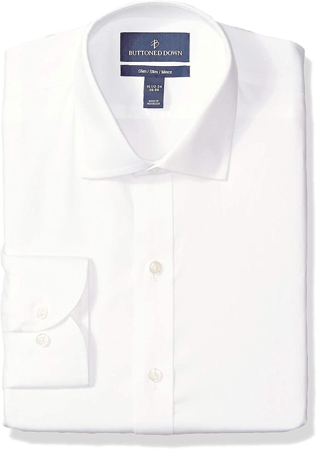 Amazon Brand - BUTTONED DOWN Men's Classic Fit Micro Twill Dress Shirt, Supima Cotton Non-Iron, Spread-Collar
