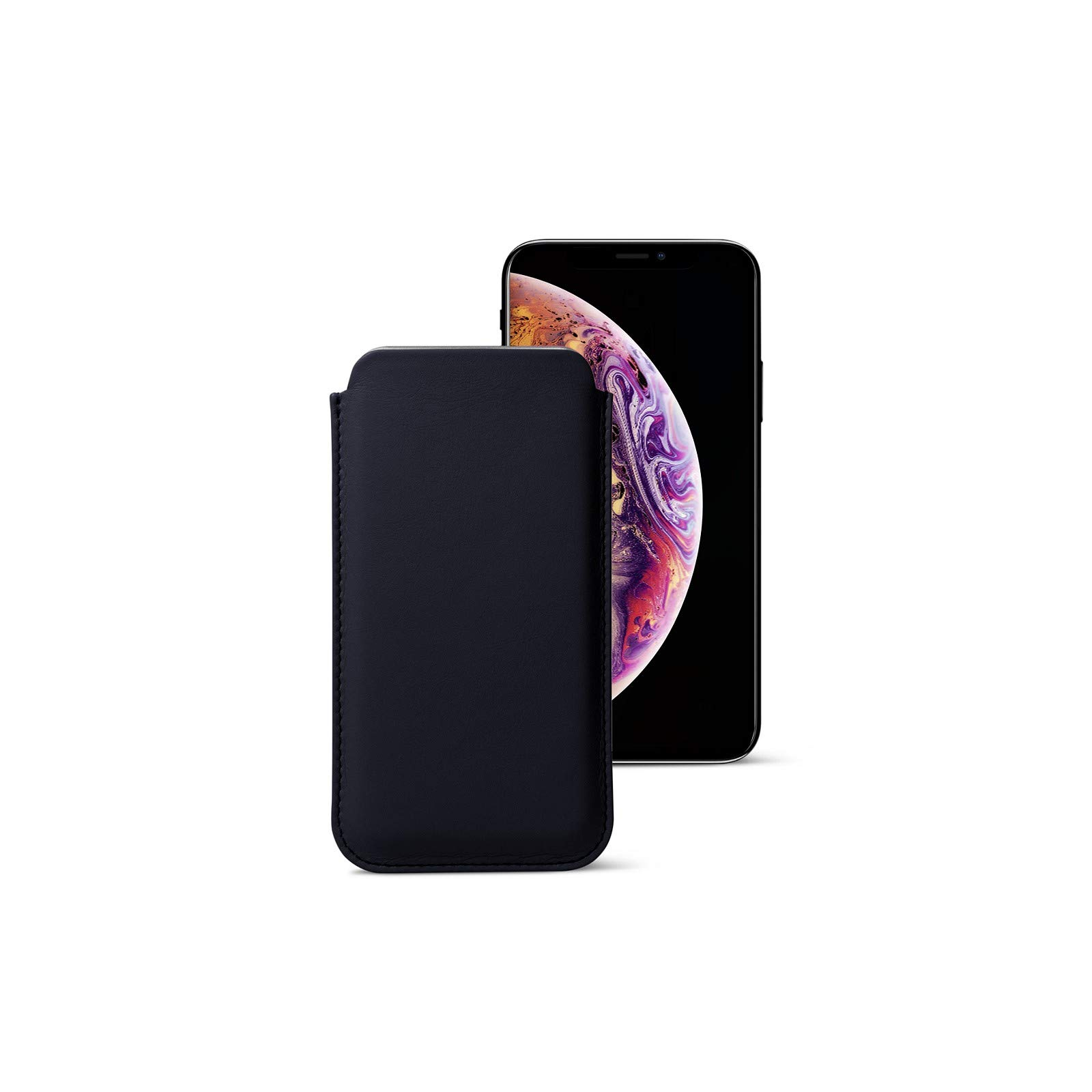 Lucrin - Classic Case Cover Sleeve Compatible with iPhone 11 Pro/iPhone Xs/iPhone X and Wireless Charging - Navy Blue - Genuine Leather by Lucrin