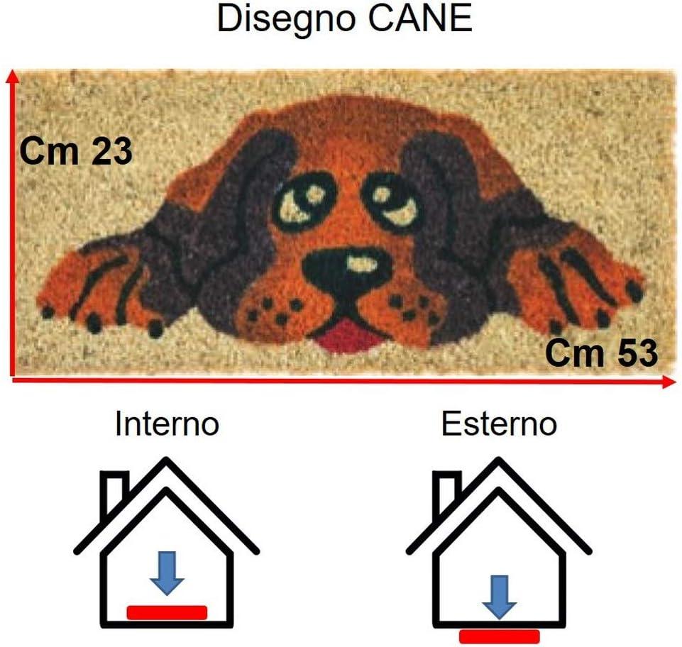 Paillasson dentr/ée maison amusant Vulcano petit 53 x 23 cm tapis antid/érapant pour entr/ée escalier int/érieur et ext/érieur tapis modernes en coco Parpyon/®