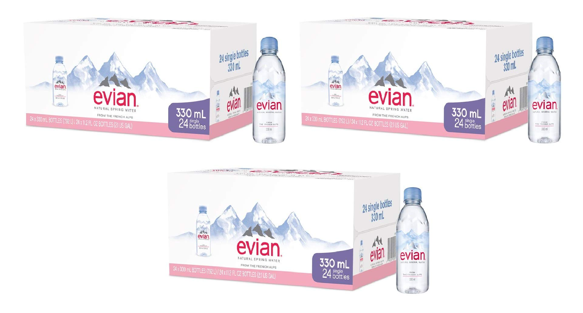 evian Natural Spring Water One Case of 24 Individual 330 ml (11.2 Fl. Oz.) Mini-Bottles, Naturally Filtered Spring Water Small Water Bottles (3 Pack) by evian (Image #1)